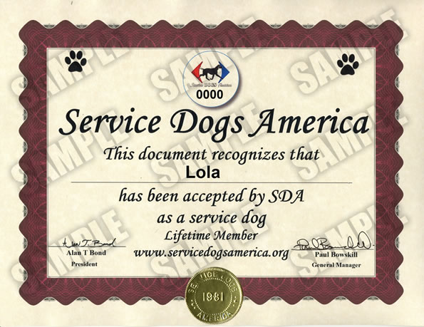Registered Service Dogs Of America
